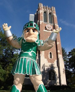 Sparty and the rest of campus are excited to welcome the students back!