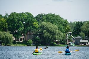 Kayaks on Lake Lansing