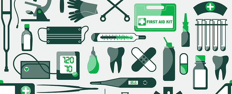 graphic with various health care and medical items