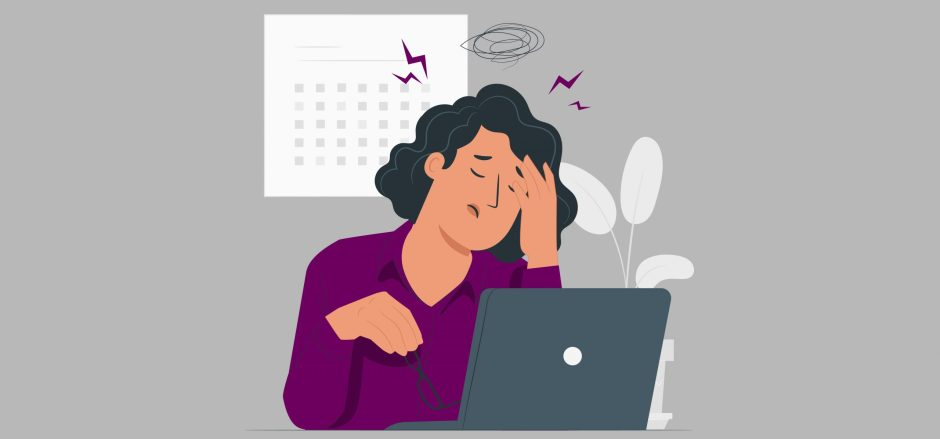 graphic of a woman who looks stressed.