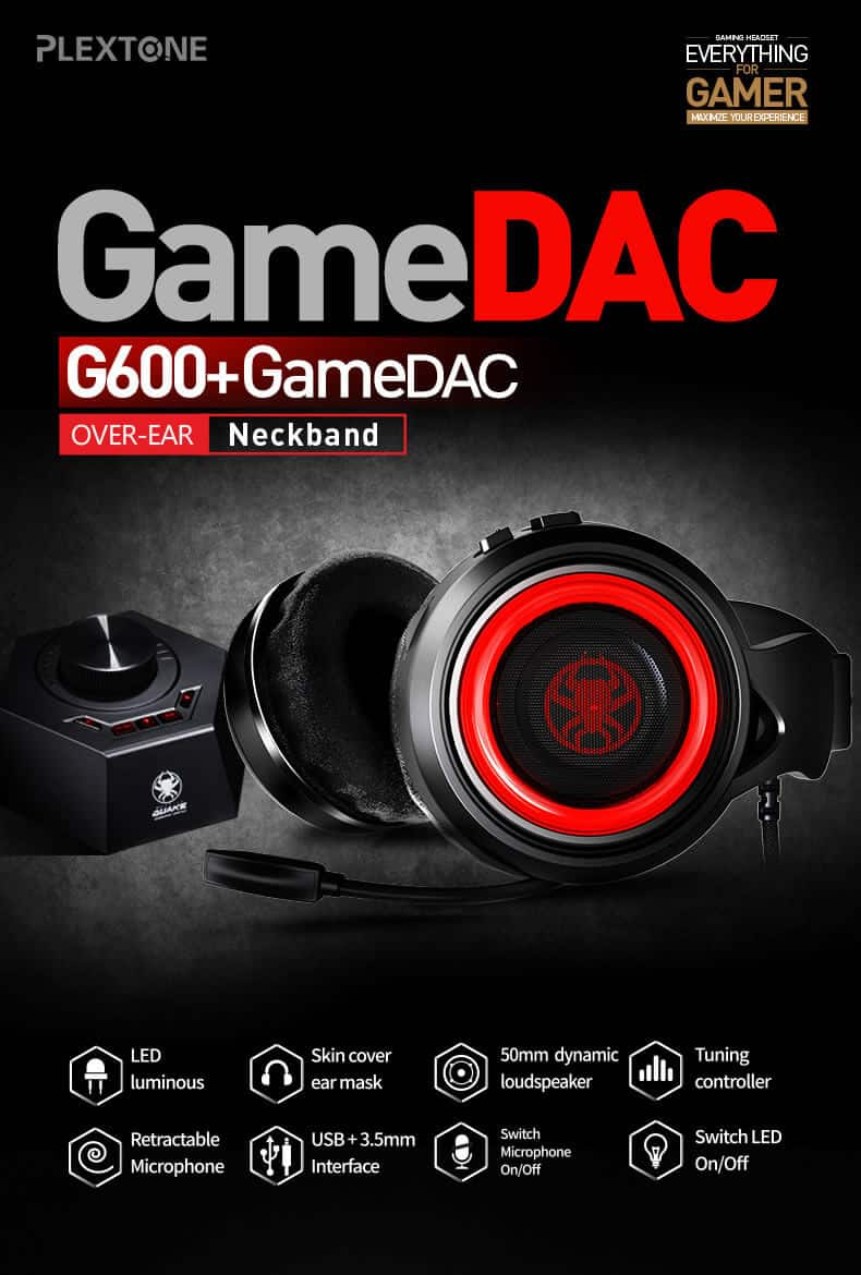 PLEXTONE G600 Gaming Wired Dynamic Headphone LED SOP