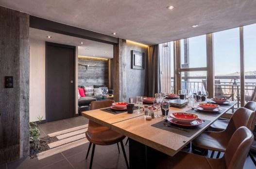 Appartement alpin (Les Arcs 1800) - Salle à manger - Appartement Les Arcs Vue Mont-Blanc - Thomas Ouf - Source Studio - Architecte d'intérieur à Aix-les-Bains en Savoie