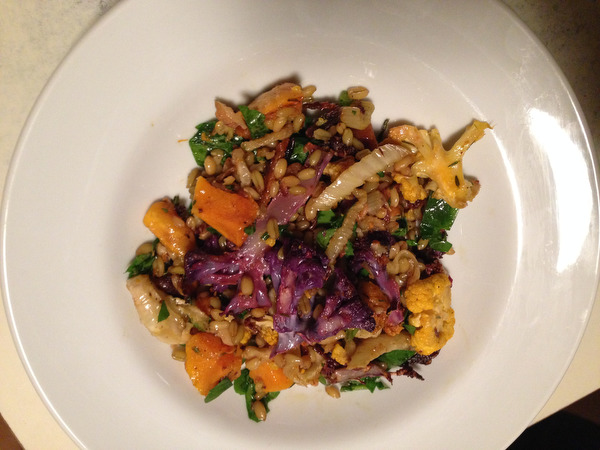 Freekeh Salad with Roasted Winter Vegetables