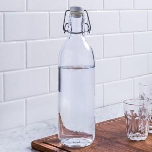 Reusable Glass Water Bottle with Flip Top Lid 0.5LT