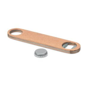 Stainless steel bottle opener with wooden surface
