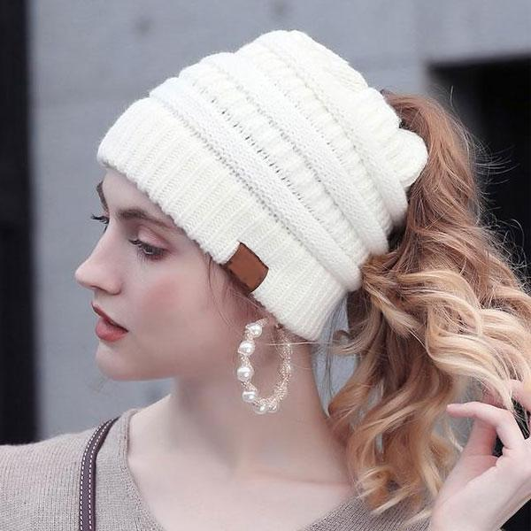 high ponytail beanie