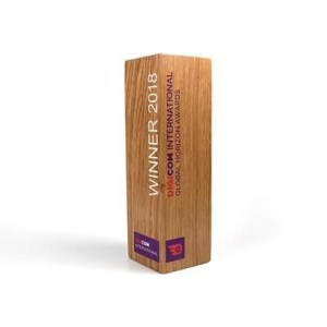 Real Wood Column Award Branded with Custom Message
