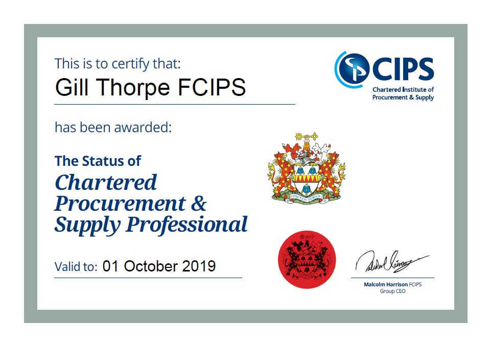 GILL Thorpe FCIPS - Our CEO is proud to achieve Chartered status of the Chartered Institute of Procurement & Supply