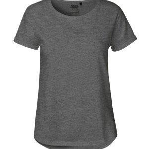Ladies Roll Up Sleeve T-Shirt Fair Trade Organic Certified Cotton