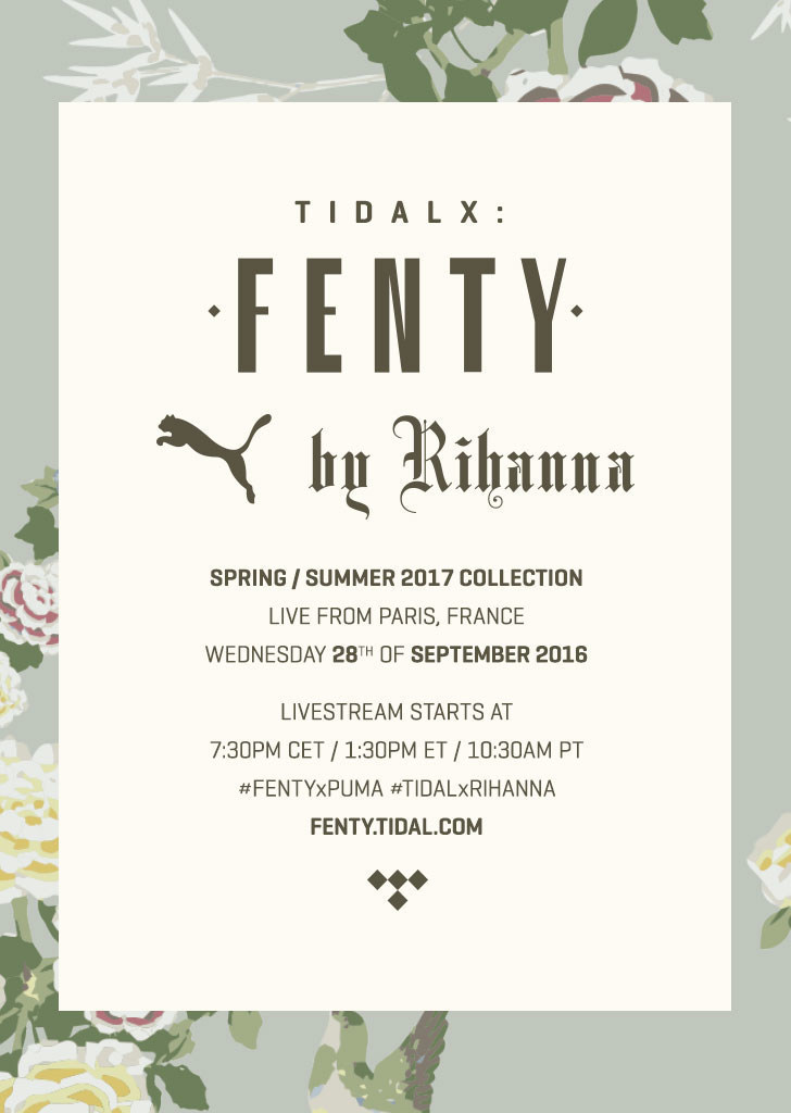 Rihanna partners with TIDAL to give fans worldwide front row access to her next collection on Wednesday, September 28th. (PRNewsFoto/TIDAL)