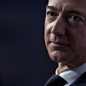 Jeff Bezos, founder and chief executive officer of Amazon.com Inc., listens during a discussion at the Air Force Association's Air, Space and Cyber Conference in National Harbor, Maryland, U.S.