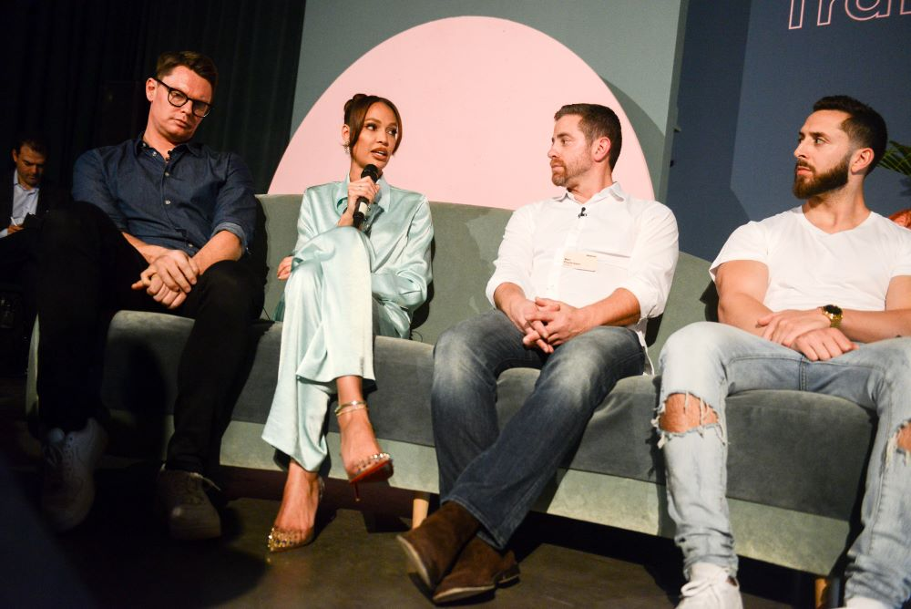 Klarna CMO David Sandstrom, model and actress Joan Smalls, M.Gemi CEO Ben Fischman and MVMT co-founder Jake Kassan at Klarna's Smoooth Sessions event Tuesday night in New York City.