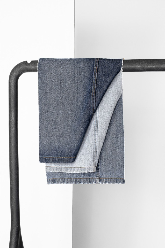 Denim completely produced using a circular alternative to virgin cotton, courtesy of Infinited Fiber Company..