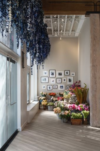 Artist Ian Berry partnered with Italian finishing company Tonello on a secret denim garden displayed in San Francisco's Flower Mart.