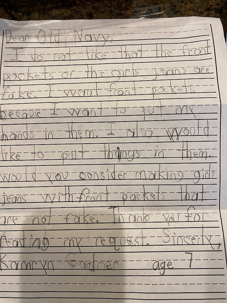 Old Navy responded to a child's handwritten request for girls' jeans with pockets by sending a letter and four pairs of jeans.
