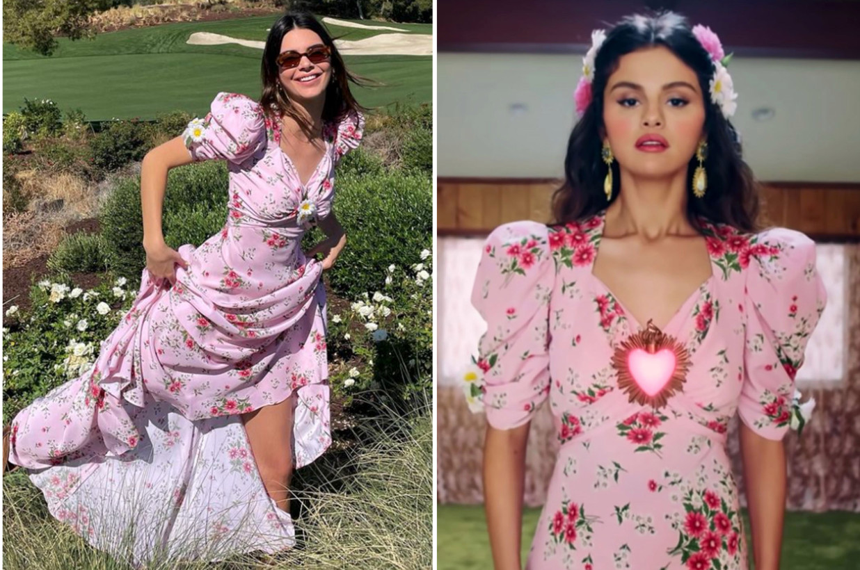 Kendall Jenner and Selena Gomez in Rodarte's daisy-print dress