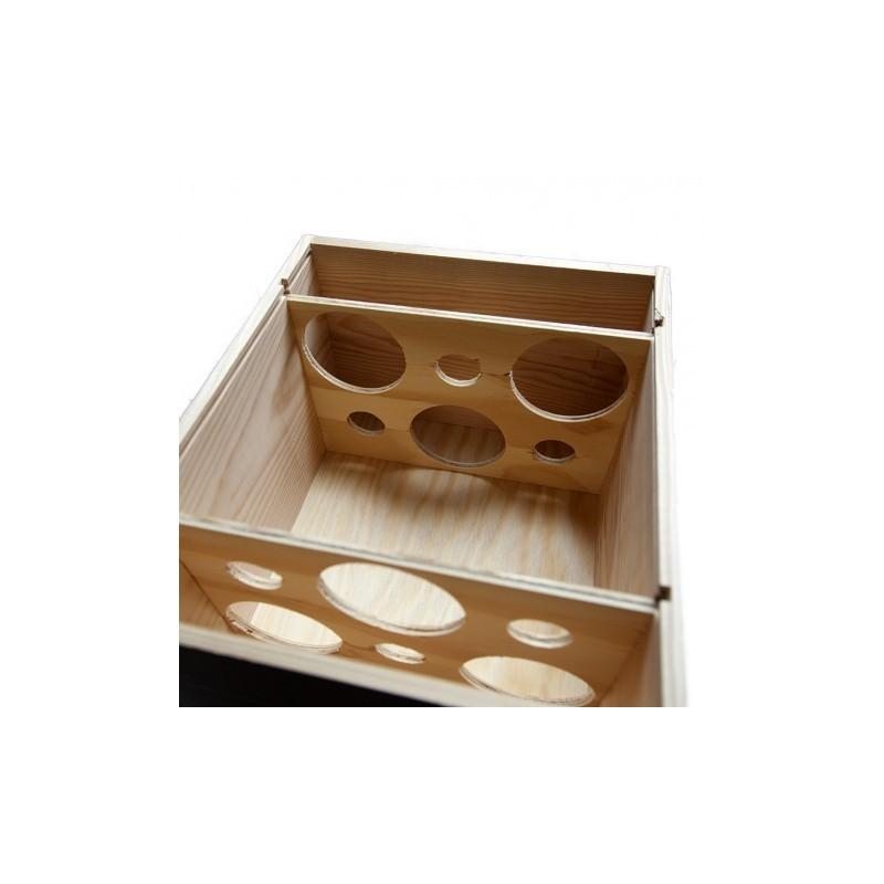 caisse en bois pour 6 bouteilles de format bordelaise avec couvercle a glissiere et guillotines a l interieur 2 x 3