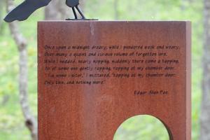 Modern art sculpture of The Raven by Edgar Allen Poe
