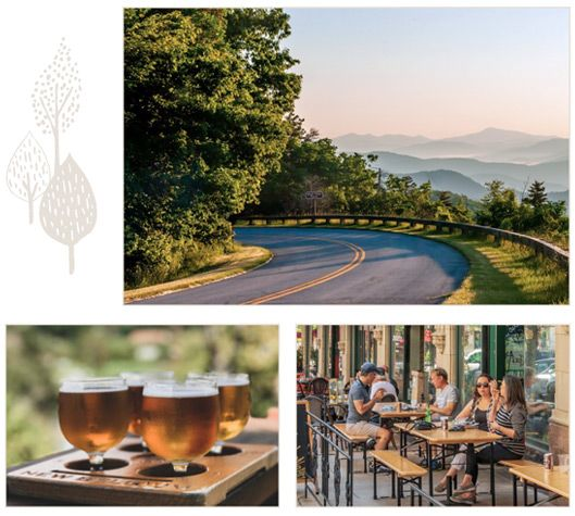 Scenes from Asheville like the Blue Ridge parkway, a flight of craft beer and downtown dining