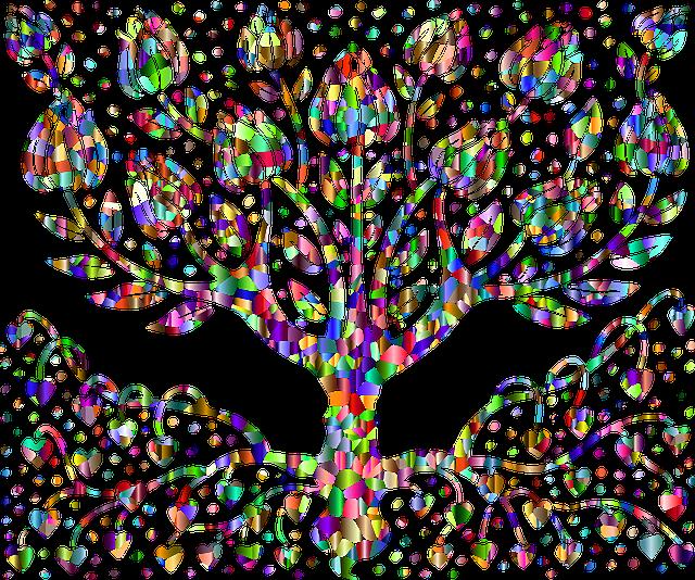 arbre de coeur coloré