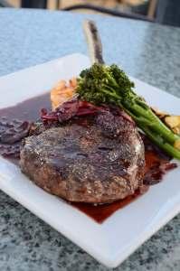 Layering vegetables on top of sous vide steak