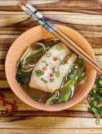 Sous Vide Cod in Ginger and Garlic Broth Udon Soup