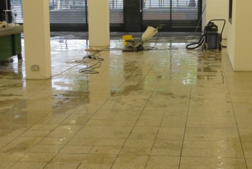 Terrazzo Tiles Dagenham Food Hall During Cleaning
