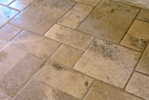 Travertine Tiles in Dunmow Office Before Cleaning