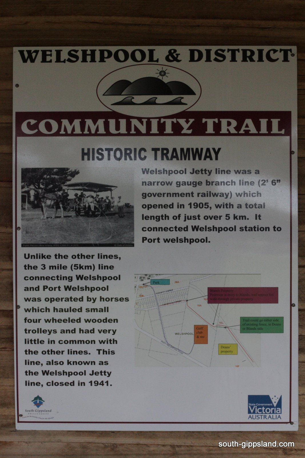 welshpool and district historic tramway information sign