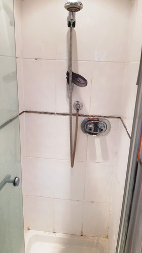 Ceramic Shower Tile and Grout Before Revamp Sheffield