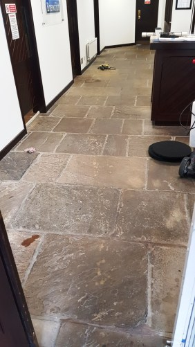 Office Yorkstone Floor Before Cleaning Norton Sheffield