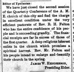 January 22, 1891. Ypsilantian.