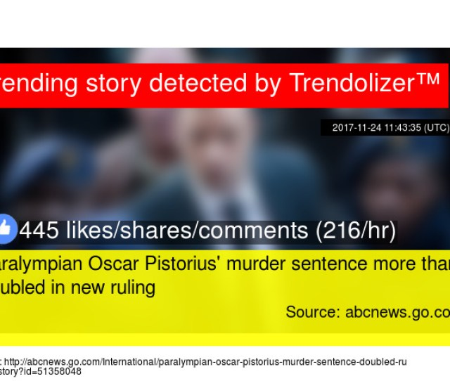 Paralympian Oscar Pistorius Murder Sentence More Than Doubled In New Ruling