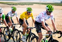 DiData riders Kent Main (front), Stefan de Bod (yellow jersey) and Matteo Sobrero tackle the 82km final stage of the Bestmed Tour of Good Hope, presented by Scicon and the City of Drakenstein, which ended near Paarl in the Cape Winelands today. Photo: Robert Ward