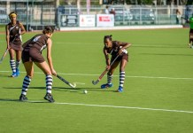 Woodridge's Edith Molikoe passes the ball to Lauren Booysen as Chere Jacobs (left) looks on during a match last year. The team will be defending their title in the PE Central tournament of the SPAR Eastern Cape Schoolgirls Hockey Challenge at Westering in Port Elizabeth tomorrow. Photo: Supplie