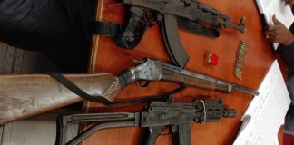 Five arrested with illegal firearms. Photo: SAPS