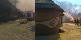 Seven 'Mutumo Trading Post' thatch houses burnt down. Photo: SAPS
