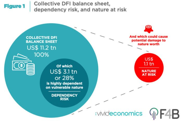 """The Finance for Biodiversity Initiative and Vivid Economics released """"Aligning Development Finance with Nature's Needs: Protecting Nature's Development Dividend"""" on November 3. The report estimates the dependency of development finance institutions' (DFIs') collective balance sheet on vulnerable nature (""""dependency risk""""), alongside the potential damage to nature from t"""