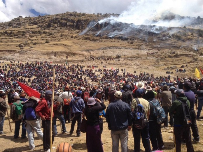 In September, 2015, four protestors were killed during demonstrations at Las Bambas mine in Apurimac, Peru. Photo courtesy of Mining Conflict Observatory.