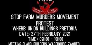 Mass march, prayer day against farm attacks and farm murders in South Africa, 27 February. Photo: SFMM