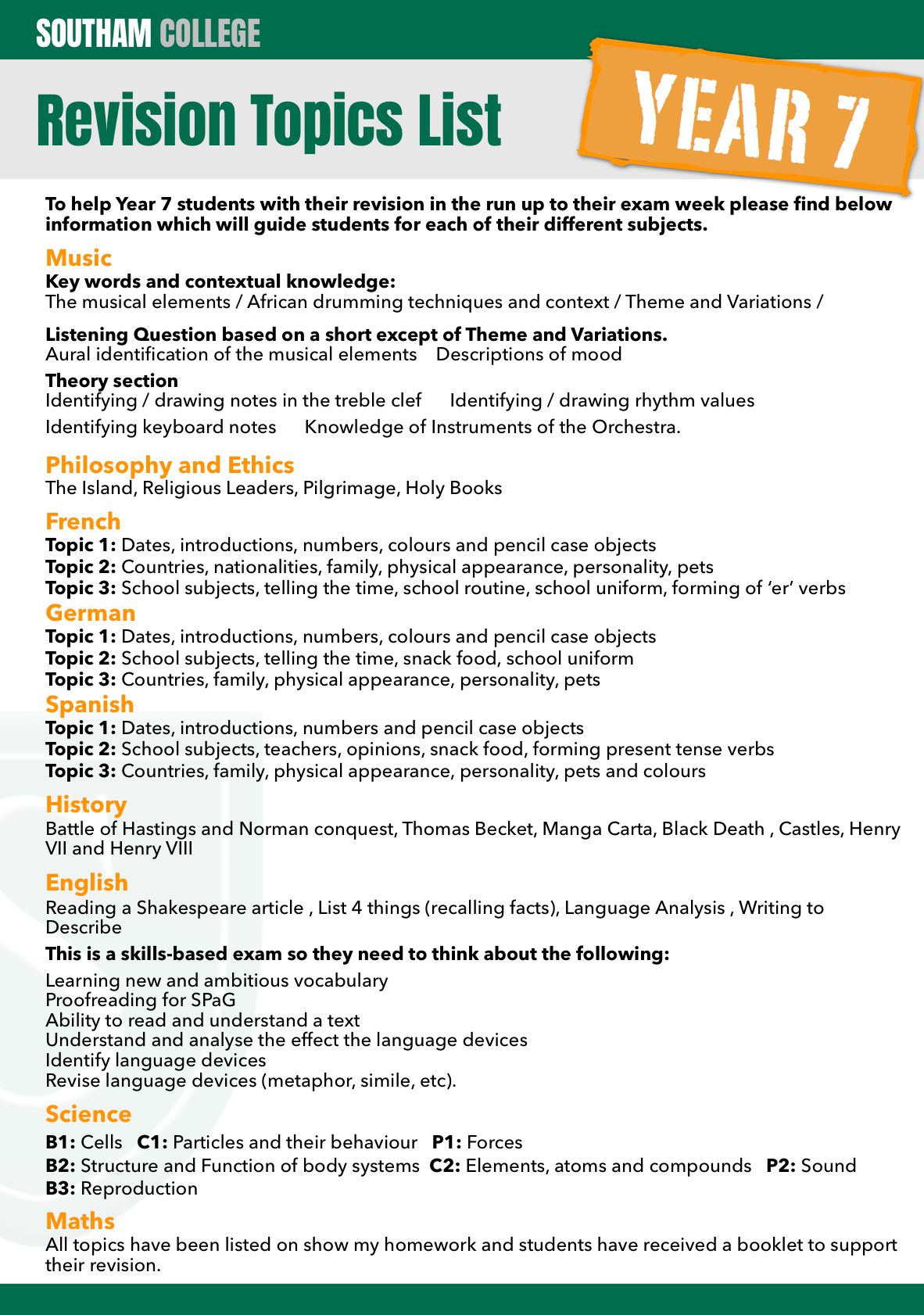 Year 7 Revision Topic List For All Subjects