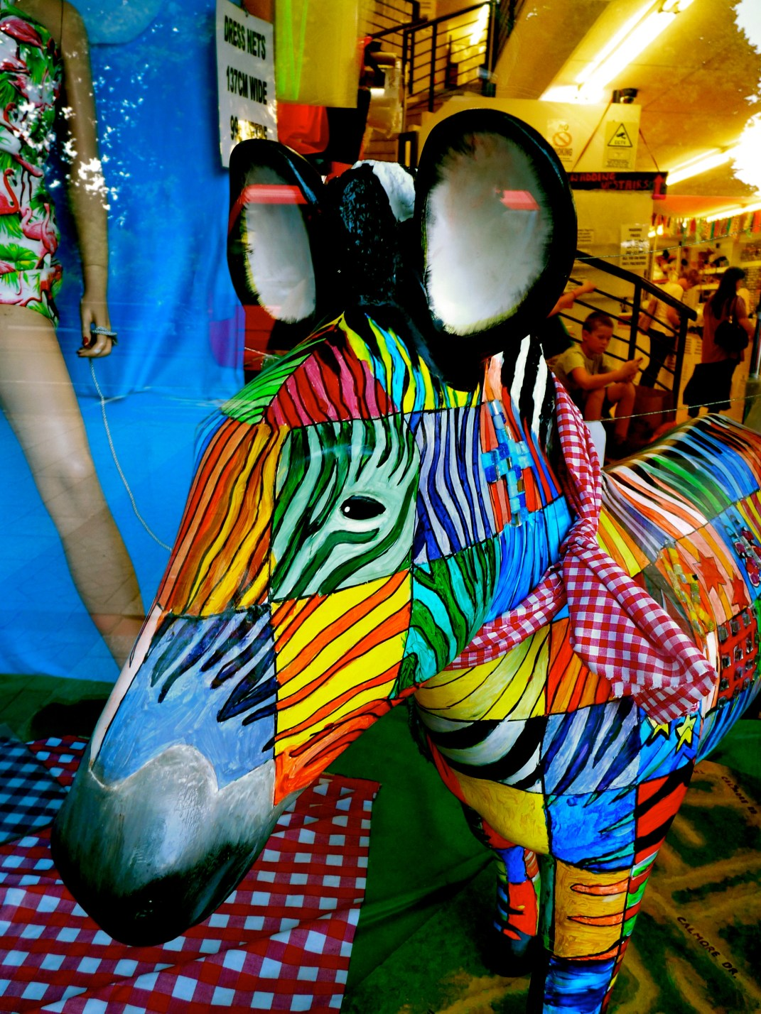 Fabric World zebra in the shop window