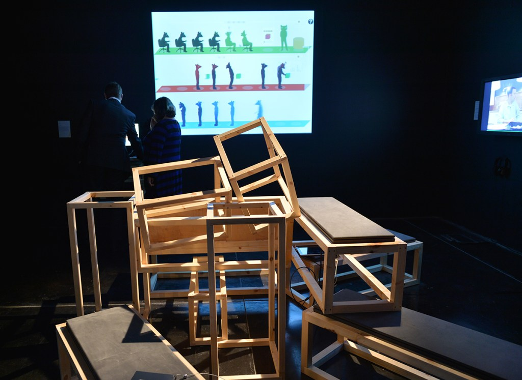 To Build a Better Mousetrap, Molleindustria, 2013. Installation at FACT as part of Time and Motion Redefining Working Life