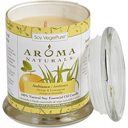 ONE 3.7x4.5 inch MEDIUM GLASS PILLAR SOY AROMATHERAPY CANDLE.  COMBINES THE ESSENTIAL OILS OF ORANGE & LEMONGRASS. BURNS APPROX. 45 HRS.