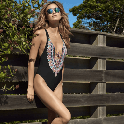 South Beach Swimsuits Red Carter Bohemian Breeze Black Multi Reversible V-neck One Piece with Classic Bottom