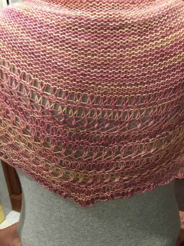 Close Up of the Rosewater Shawl knit with South Beach Yarn Co Yarn