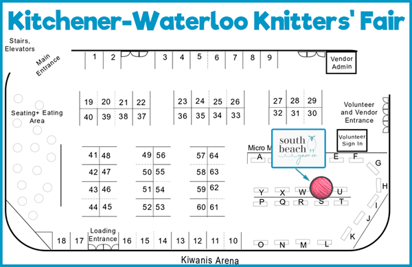 Location of South Beach Yarn Co at KW Knitters' Fair 2019