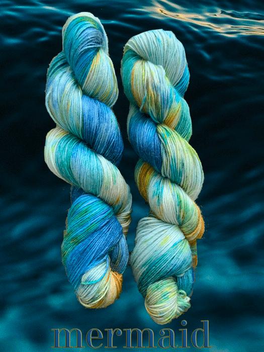 Mermaid Yarn superimposed on watery background
