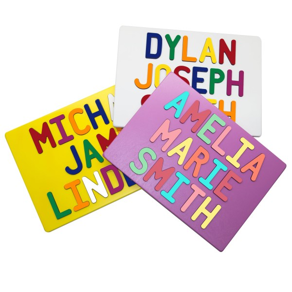 Painted Base Personalized Three Name Puzzles