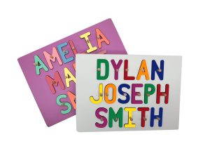 Personalized Wooden Three Name Painted Base Peg Puzzle
